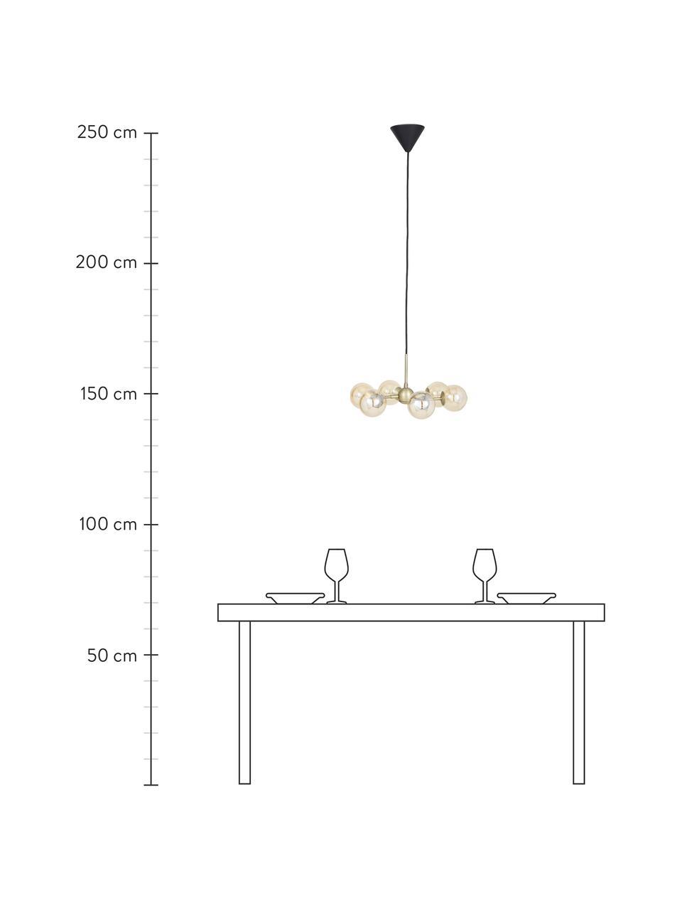Lampada a sospensione in vetro Atom, Paralume: vetro, Struttura: metallo, Baldacchino: materiale sintetico, Ottonato, ambrato, Ø 45 x Alt. 18 cm