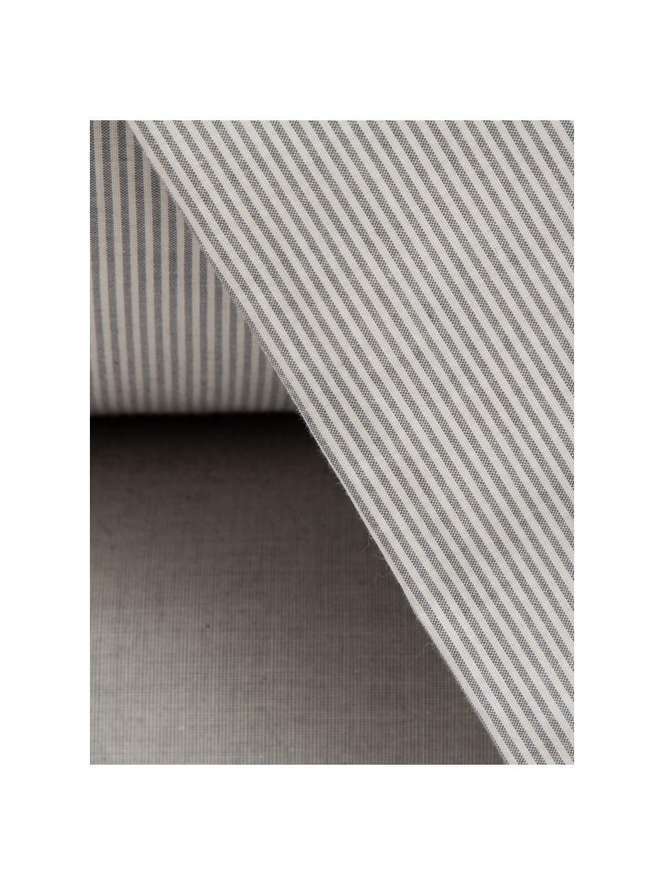 Parure copripiumino in percalle Stripes, Grigio, grigio chiaro, 155 x 260 cm + 1 federa + 1 lenzuolo con angoli