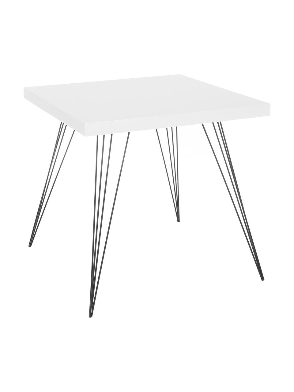 Tavolo piccolo con gambe in metallo Wolcott, Piedini: ferro verniciato, Bianco, Larg. 80 x Prof. 80 cm