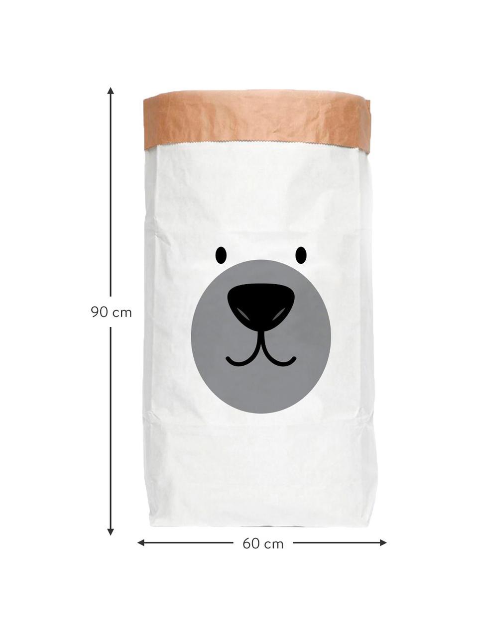 Aufbewahrungstüte Bear, Recyceltes Papier, Weiß, Schwarz, Grau, 60 x 90 cm