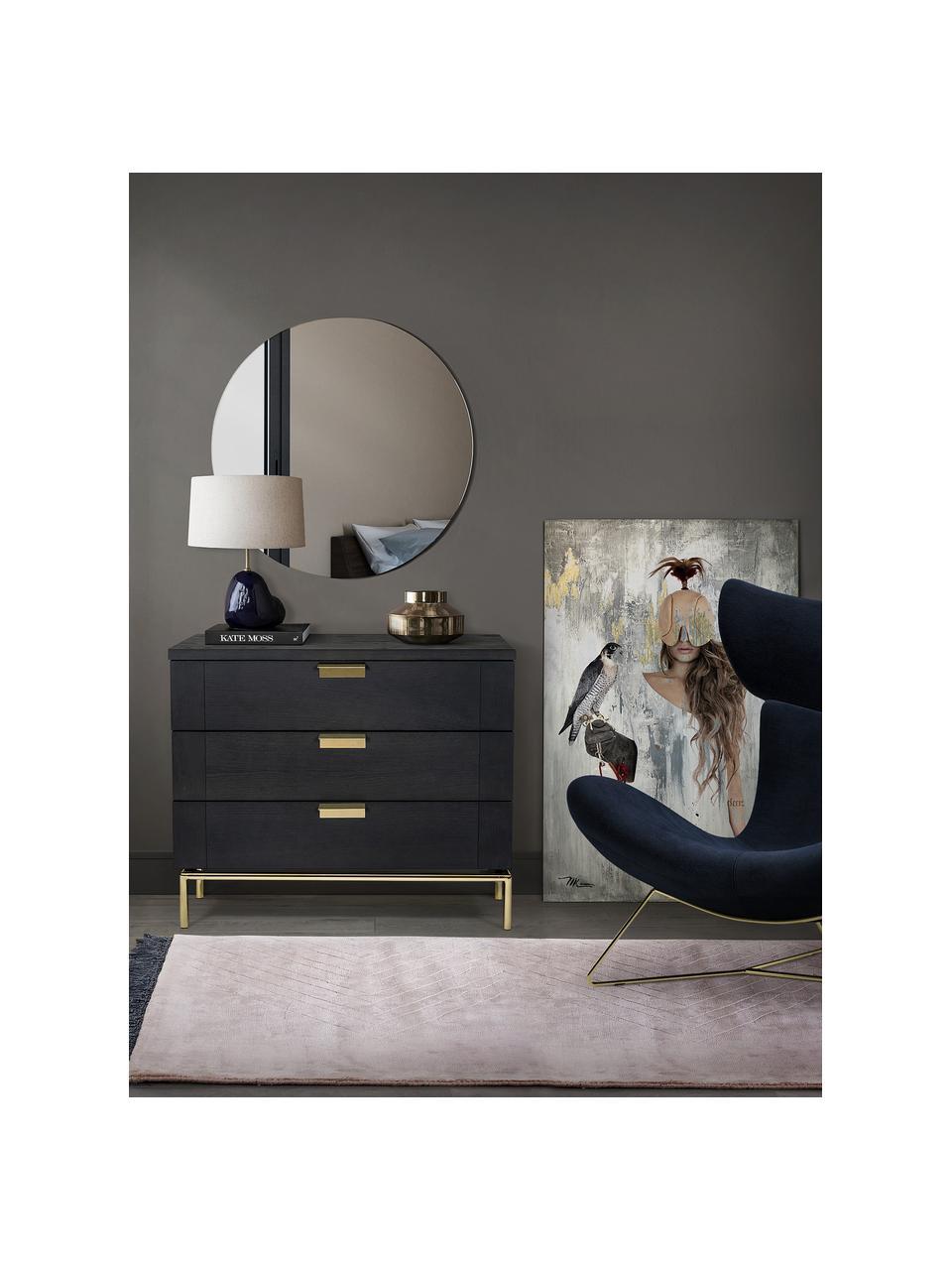 Cassettiera in legno di quercia Pimlico, Marrone scuro, ottone, Larg. 91 x Alt. 75 cm