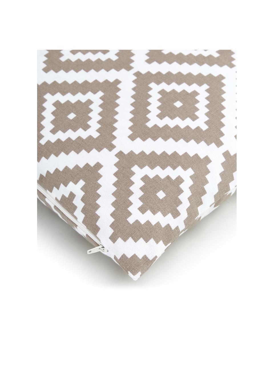 Federa arredo taupe/bianco Miami, 100% cotone, Beige, Larg. 45 x Lung. 45 cm