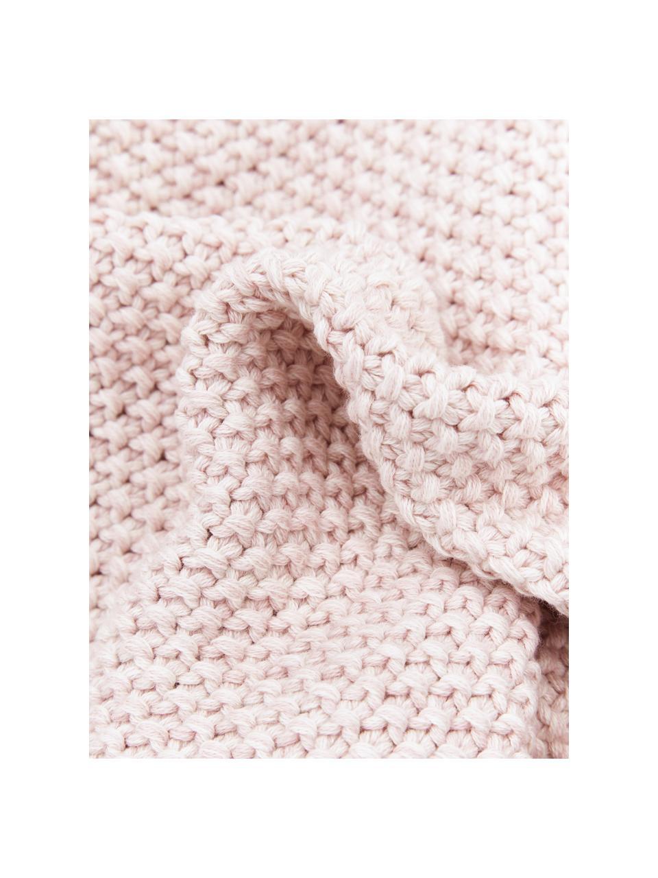 Strick-Kissenhülle Wilma in Rosa mit Perlmuster, 100% Baumwolle, Rosa, meliert, 40 x 40 cm