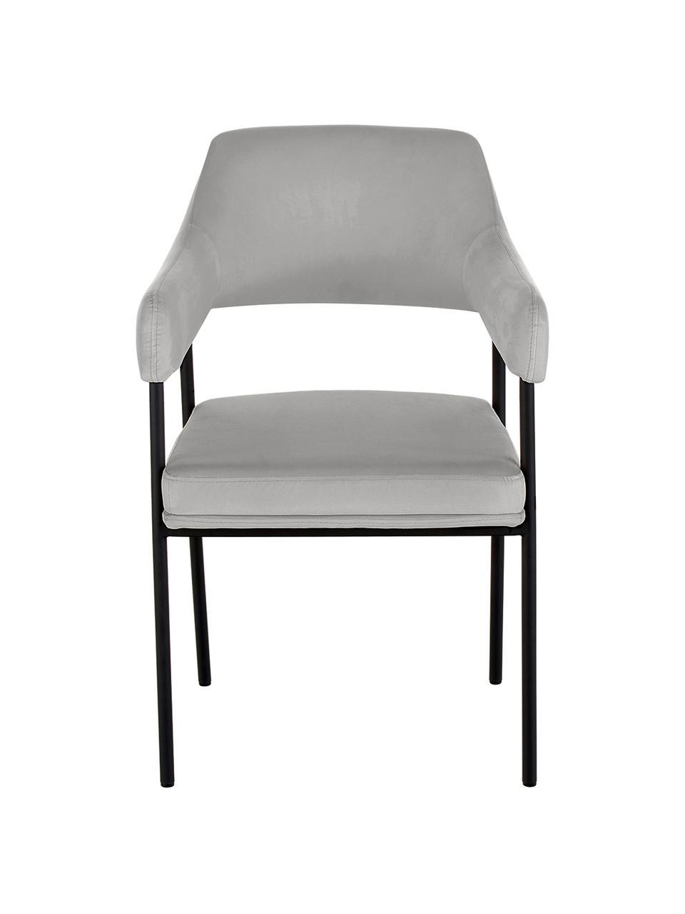 Sedia con braccioli in velluto Zoe, Rivestimento: velluto (poliestere) 50.0, Struttura: metallo verniciato a polv, Velluto grigio, Larg. 56 x Prof. 62 cm