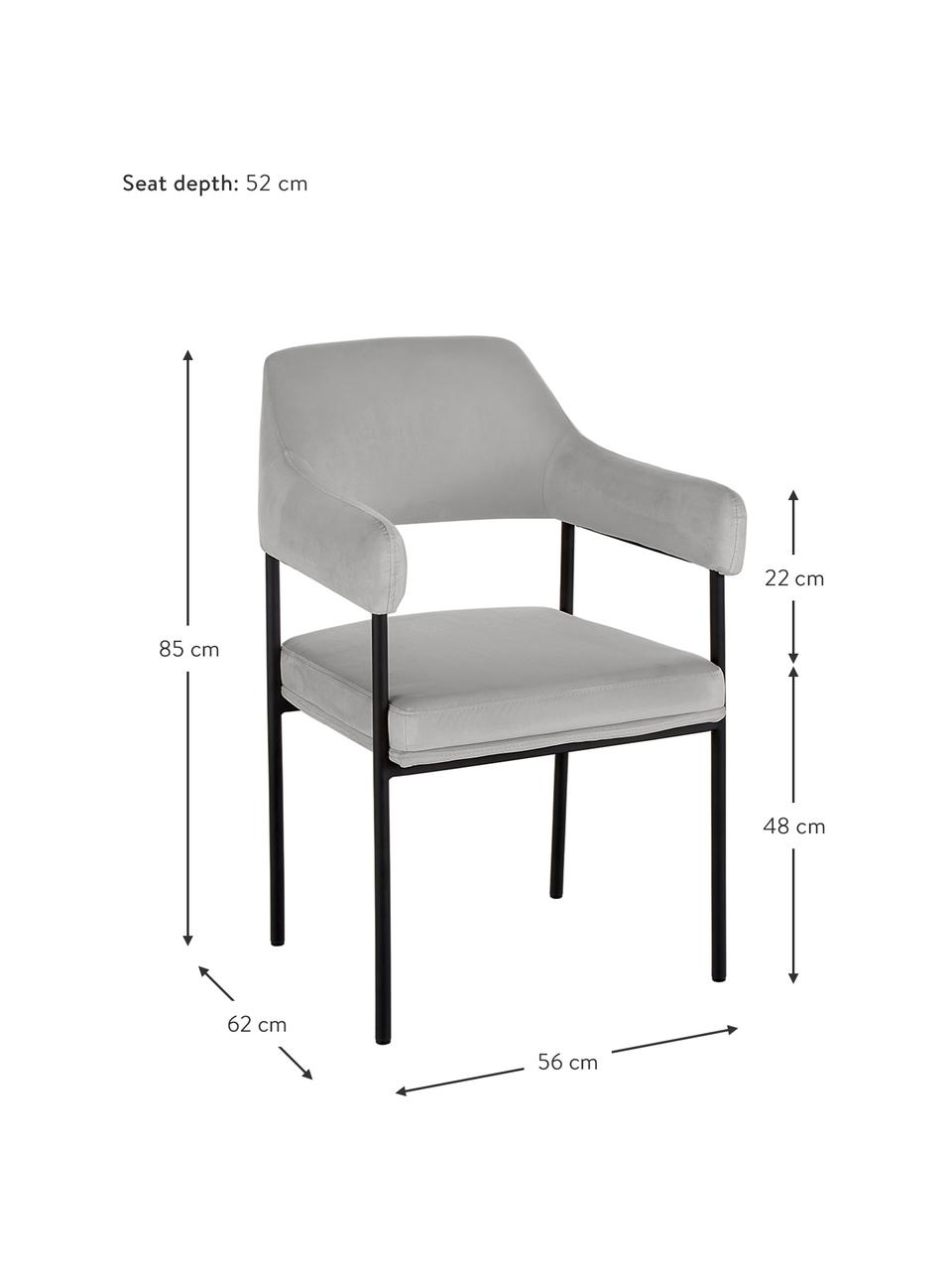 Krzesło z podłokietnikami z aksamitu Zoe, Tapicerka: aksamit (poliester) Dzięk, Stelaż: metal malowany proszkowo, Aksamitny szary, S 56 x G 62 cm
