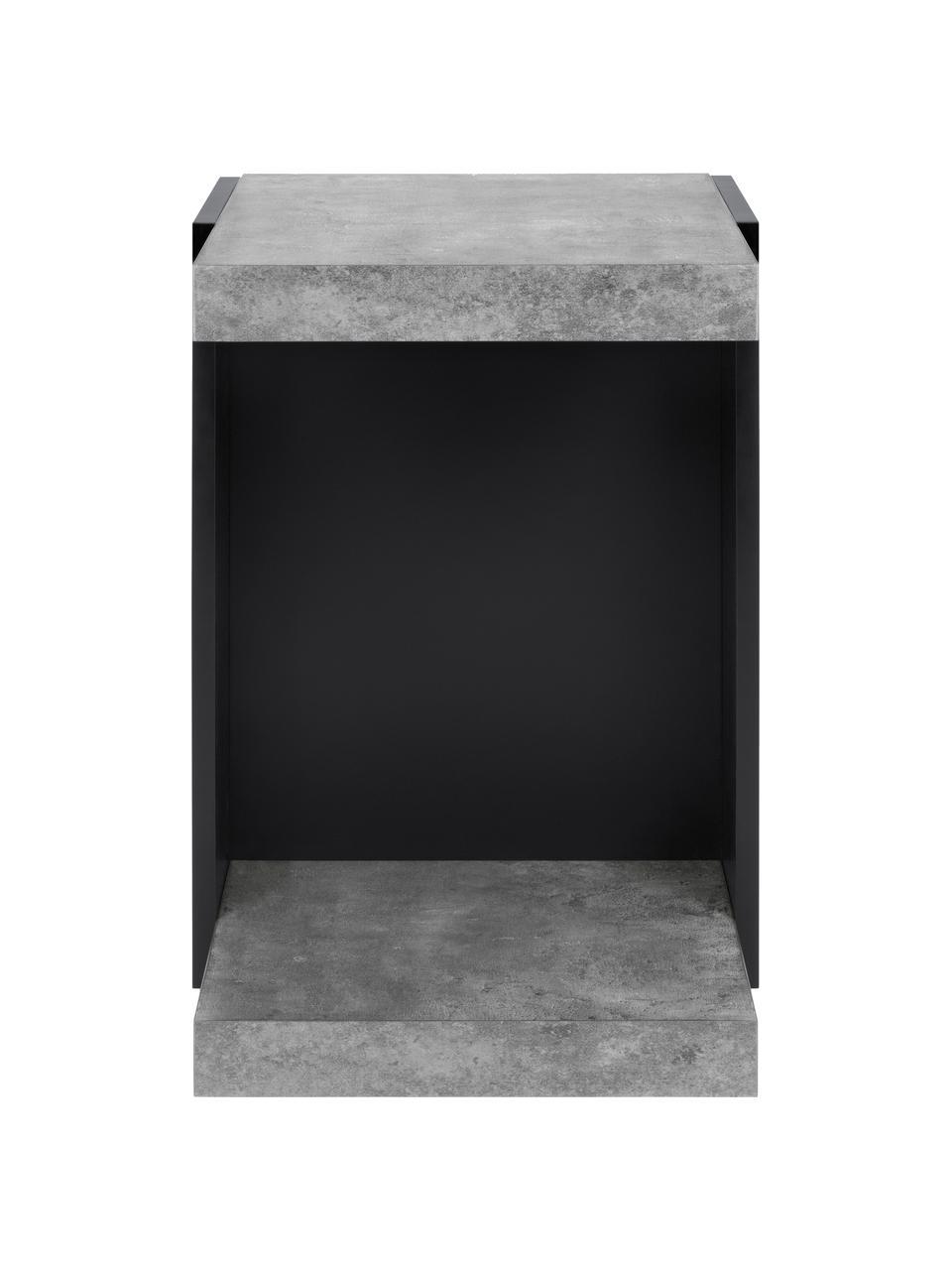 Bijzettafel Klaus, Frame: met melamine gecoate spaa, Beton optiek, 38 x 55 cm