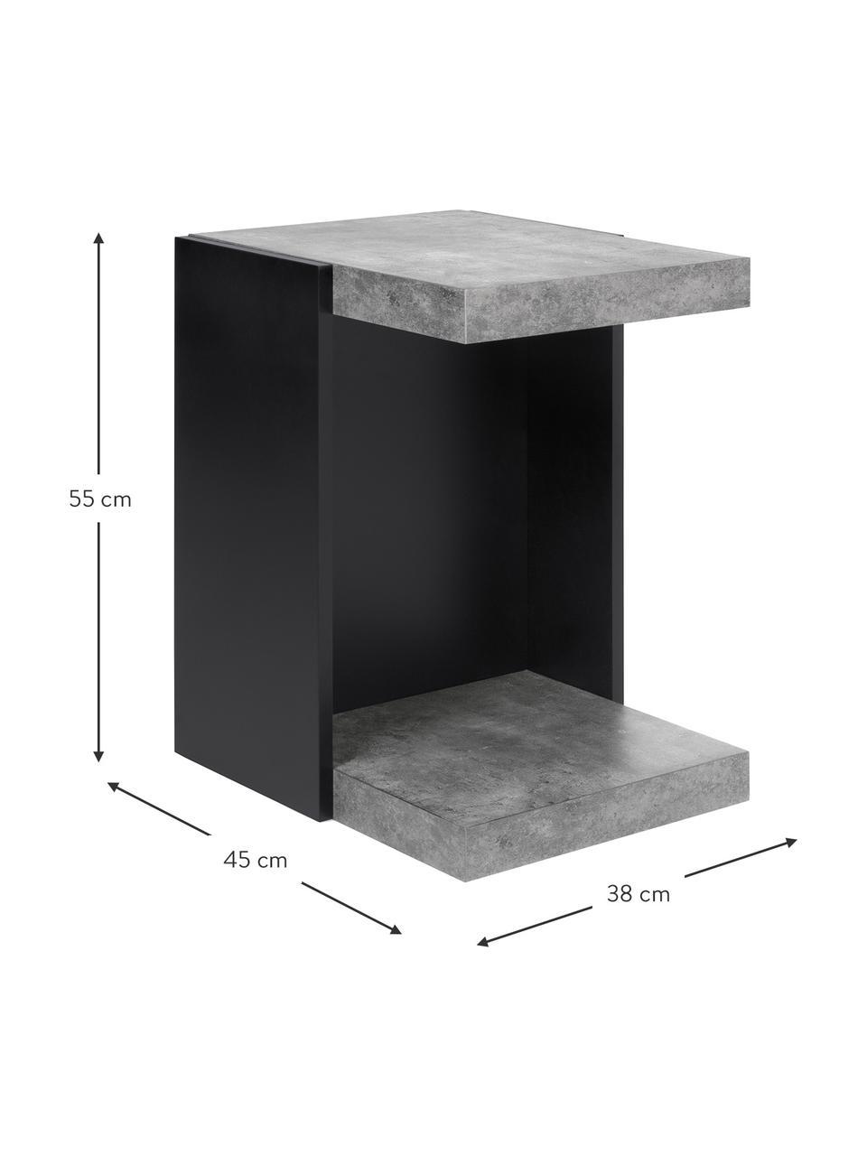 Stolik pomocniczy Klaus, Korpus: płyta wiórowa w lekkiej s, Imitacja betonu, S 38 x W 55 cm