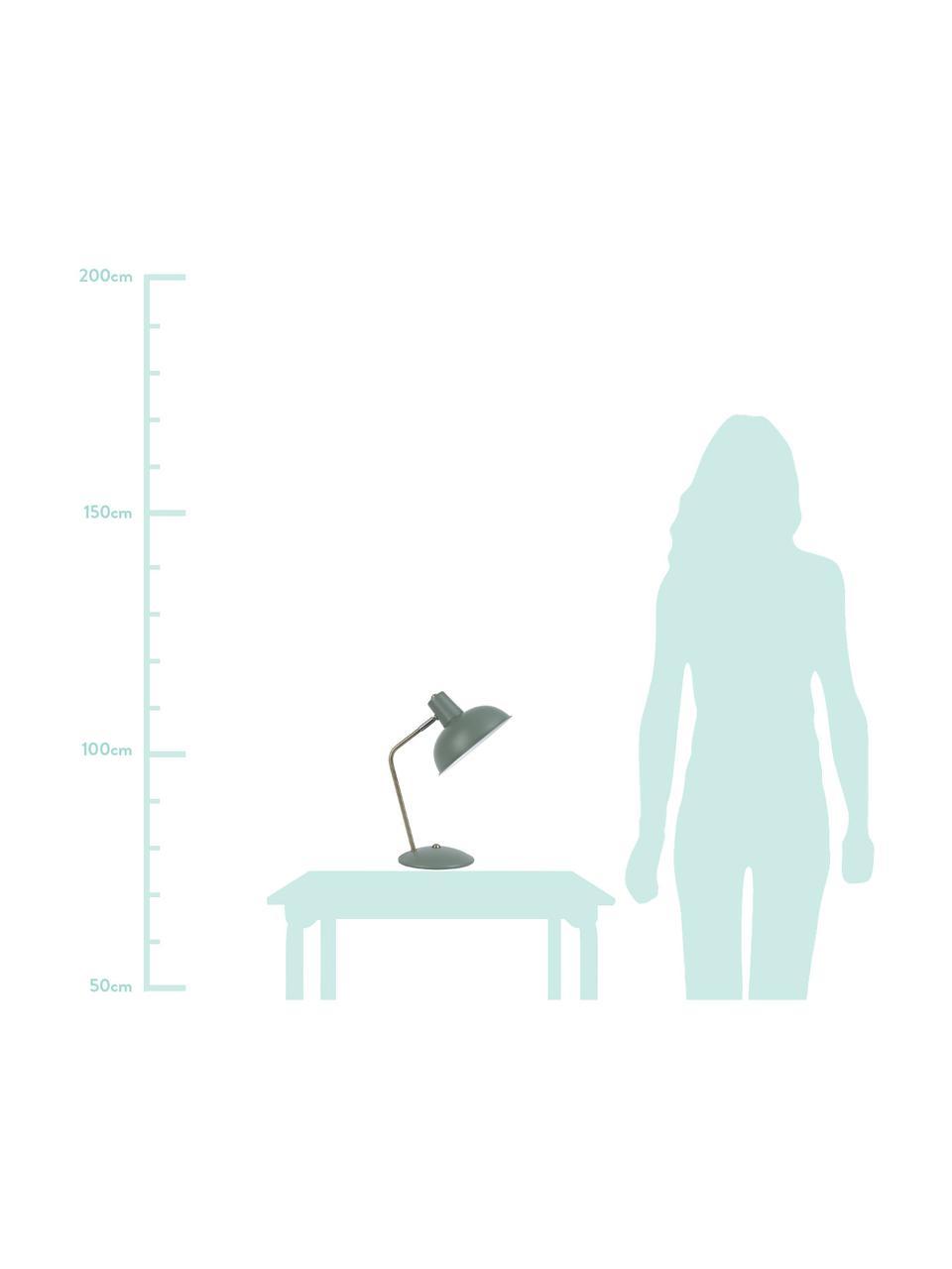 Retro-Schreibtischlampe Hood, Lampenschirm: Metall, lackiert, Lampenfuß: Metall, lackiert, Leuchte: Grün, Messingfarben Lampenschirm innen: Weiß, 20 x 38 cm