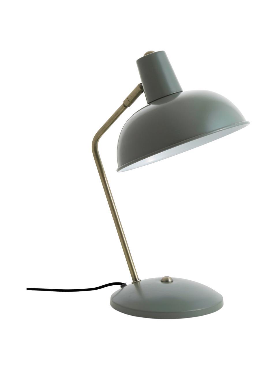 Lampa biurkowa w stylu retro Hood, Lampa: zielony, złoty Klosz wewnątrz: biały, S 20 x W 38 cm
