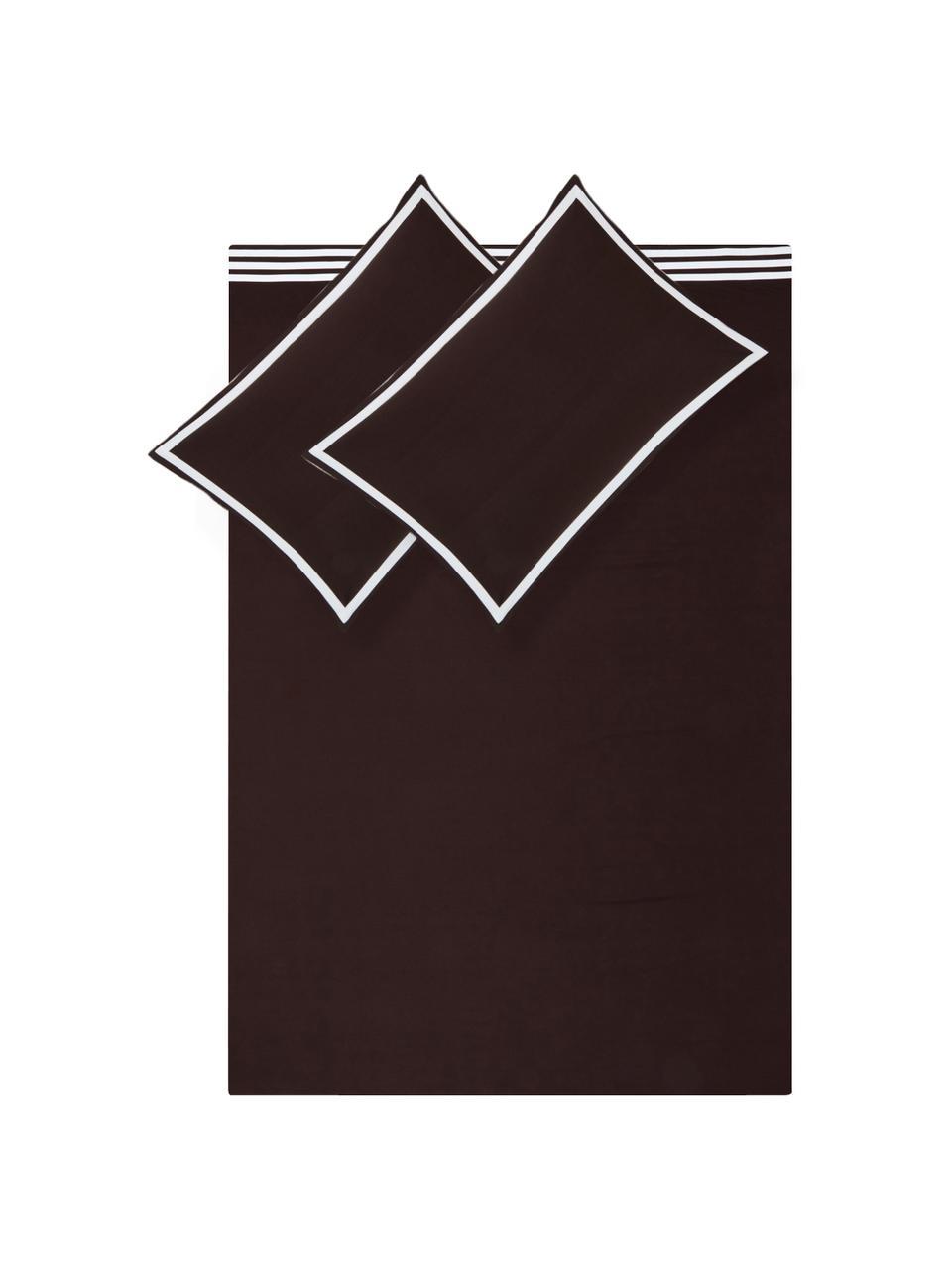 Set lenzuola in cotone Hilton, Cotone La biancheria da letto in cotone è piacevolmente morbida sulla pelle, assorbe bene l'umidità ed è adatta per chi soffre di allergie, Marrone, bianco, 250 x 290 cm + 2 federe 50 x 80 cm + lenzuola 180 x 200 cm