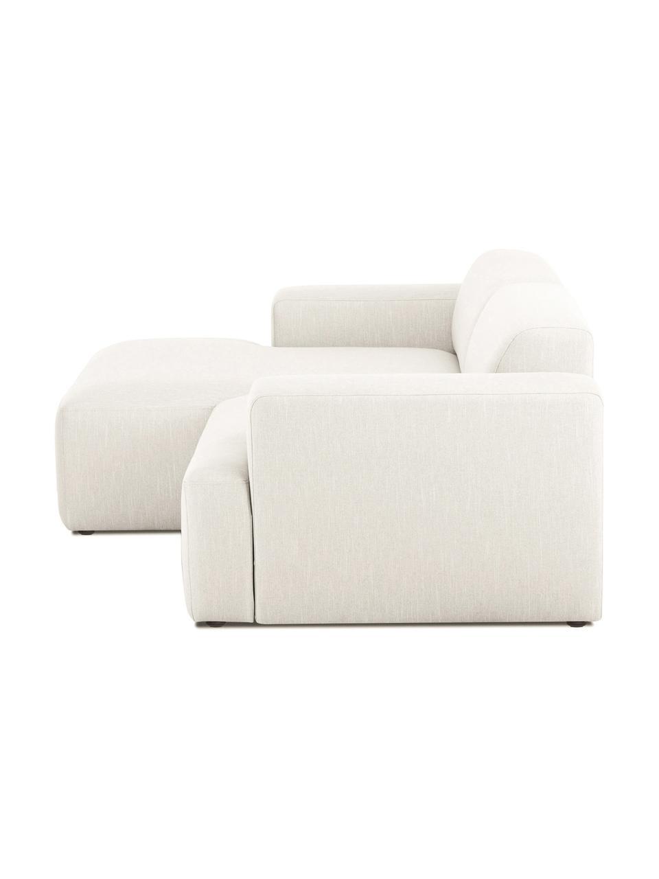 Ecksofa Melva (3-Sitzer) in Beige, Bezug: 100% Polyester Der hochwe, Gestell: Massives Kiefernholz, FSC, Füße: Kunststoff, Webstoff Beige, B 239 x T 143 cm