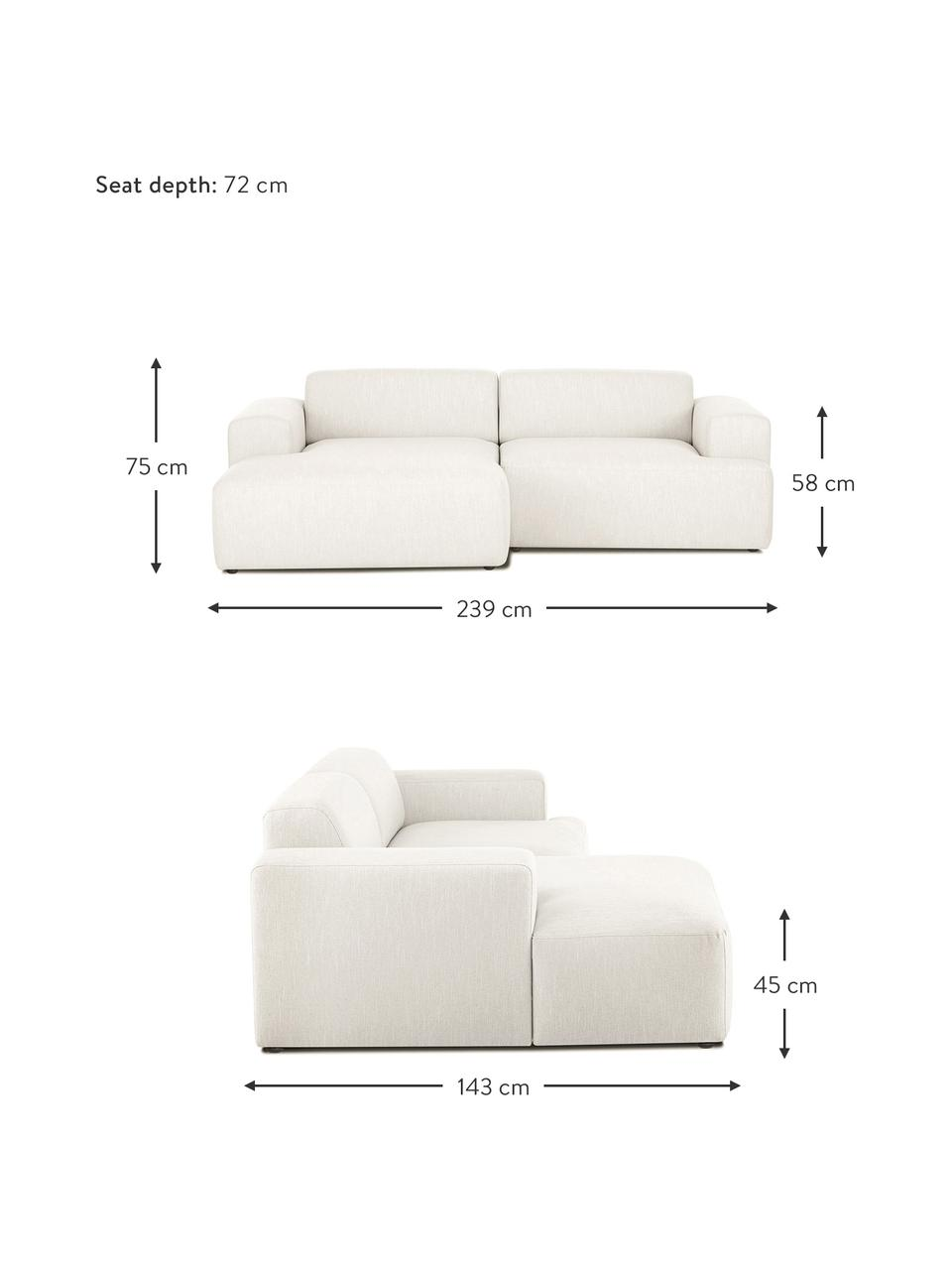 Hoekbank Melva (3-zits) in beige, Bekleding: 100% polyester, Frame: massief grenenhout, FSC-g, Poten: kunststof, Geweven stof beige, B 239 x D 143 cm