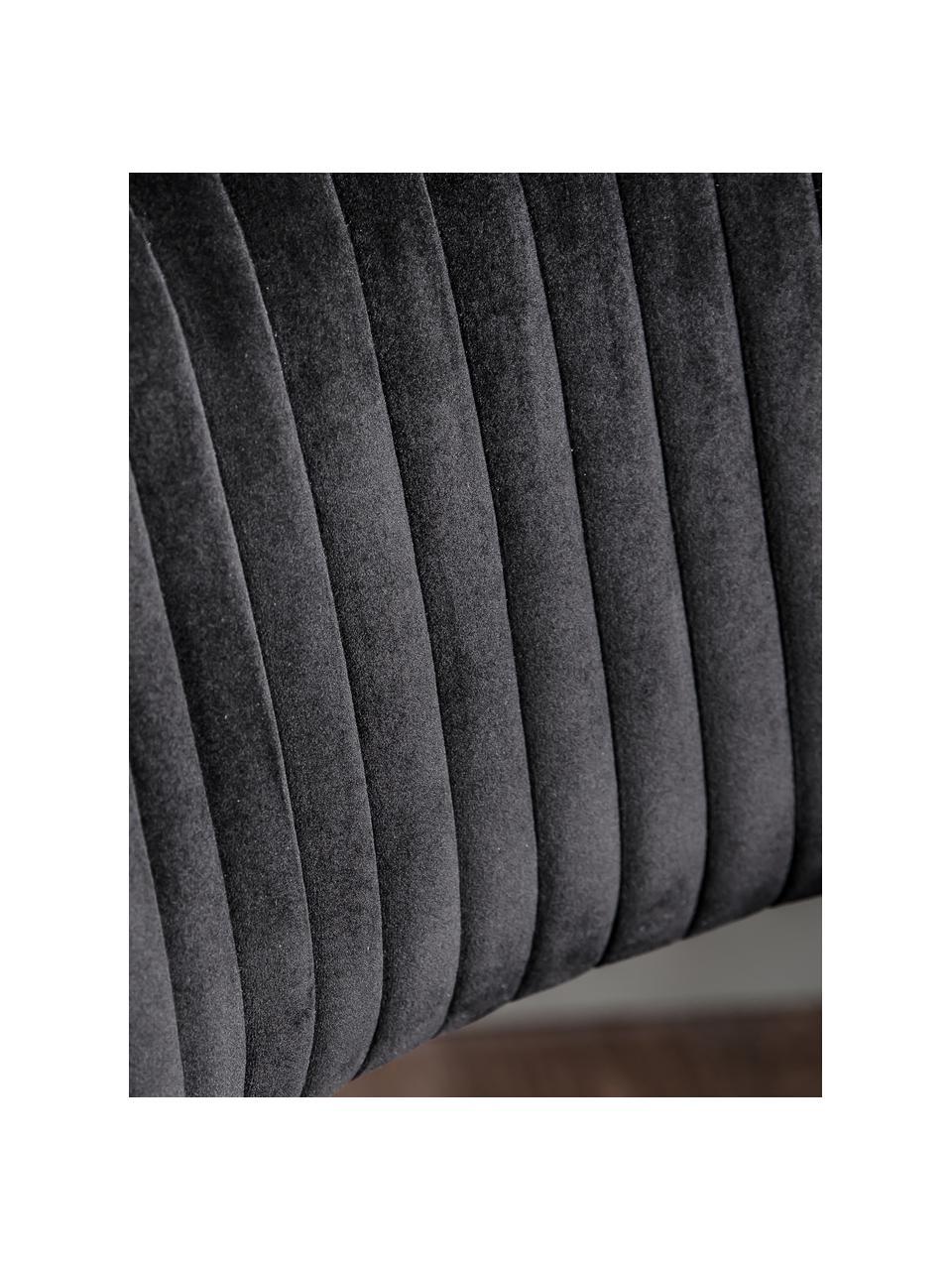 Samt-Bürodrehstuhl Murray, höhenverstellbar, Bezug: Polyestersamt, Beine: Metall, galvanisiert, Rollen: Kunststoff (Nylon), Schwarz, B 56 x T 52 cm