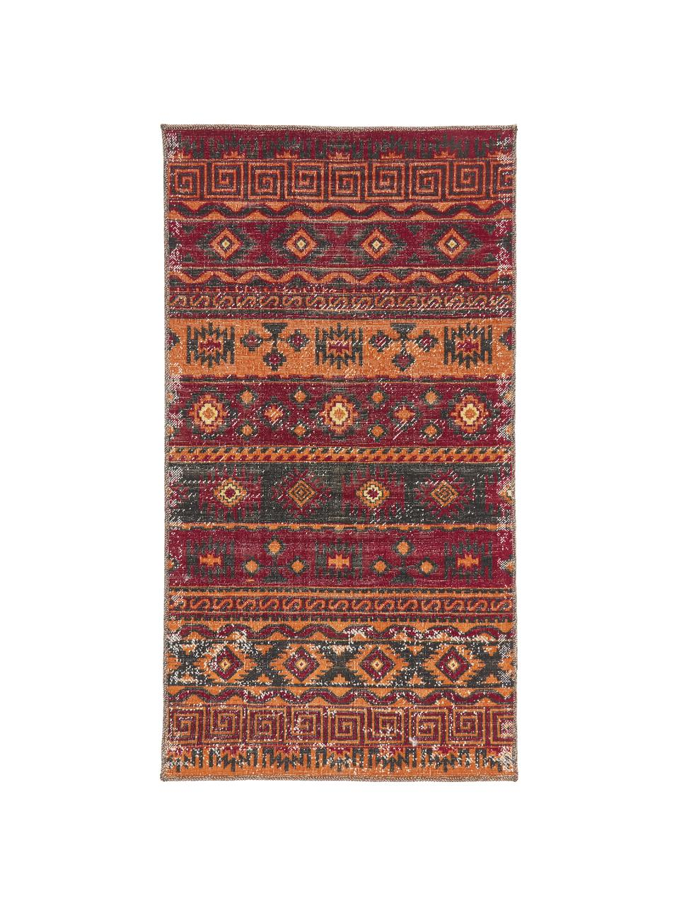 In- & outdoor vloerkleed Tilas Istanbul in donkerrood, Orient Style, 100% polypropyleen, Donkerrood, mosterdgeel, kakikleurig, B 120 x L 170 cm (maat S)