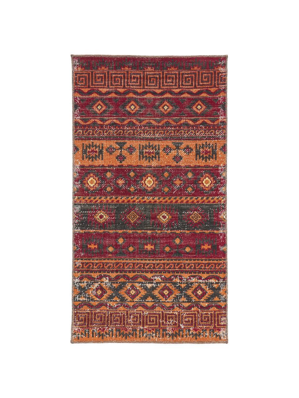 Tappeto orientale rosso scuro da interno-esterno Tilas Istanbul, 100% polipropilene, Rosso scuro, giallo senape, kaki, Larg.160 x Lung. 230 cm (taglia M)