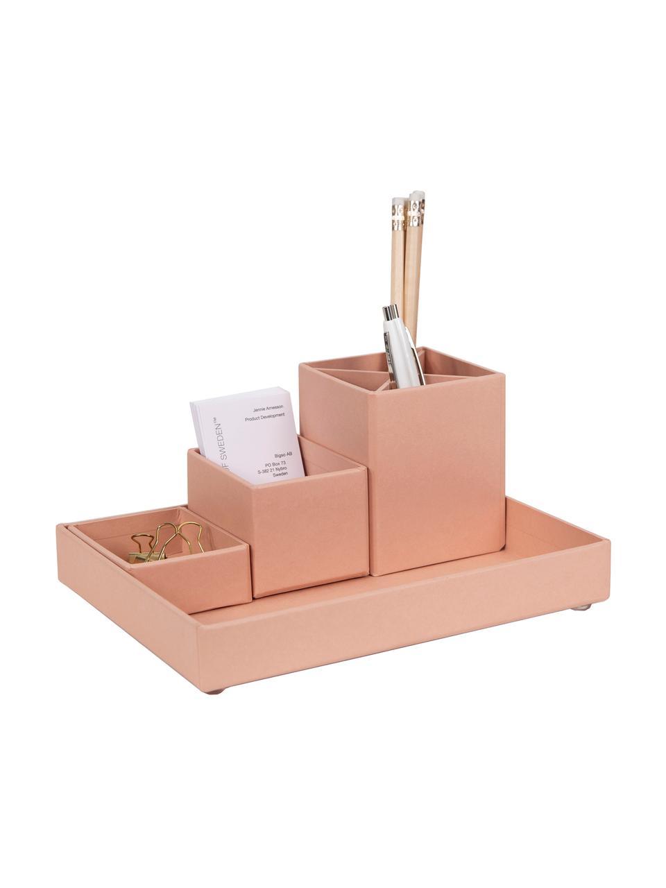 Set organizer da ufficio Lena 4 pz, Solido, cartone laminato, Rosa cipria, Set in varie misure