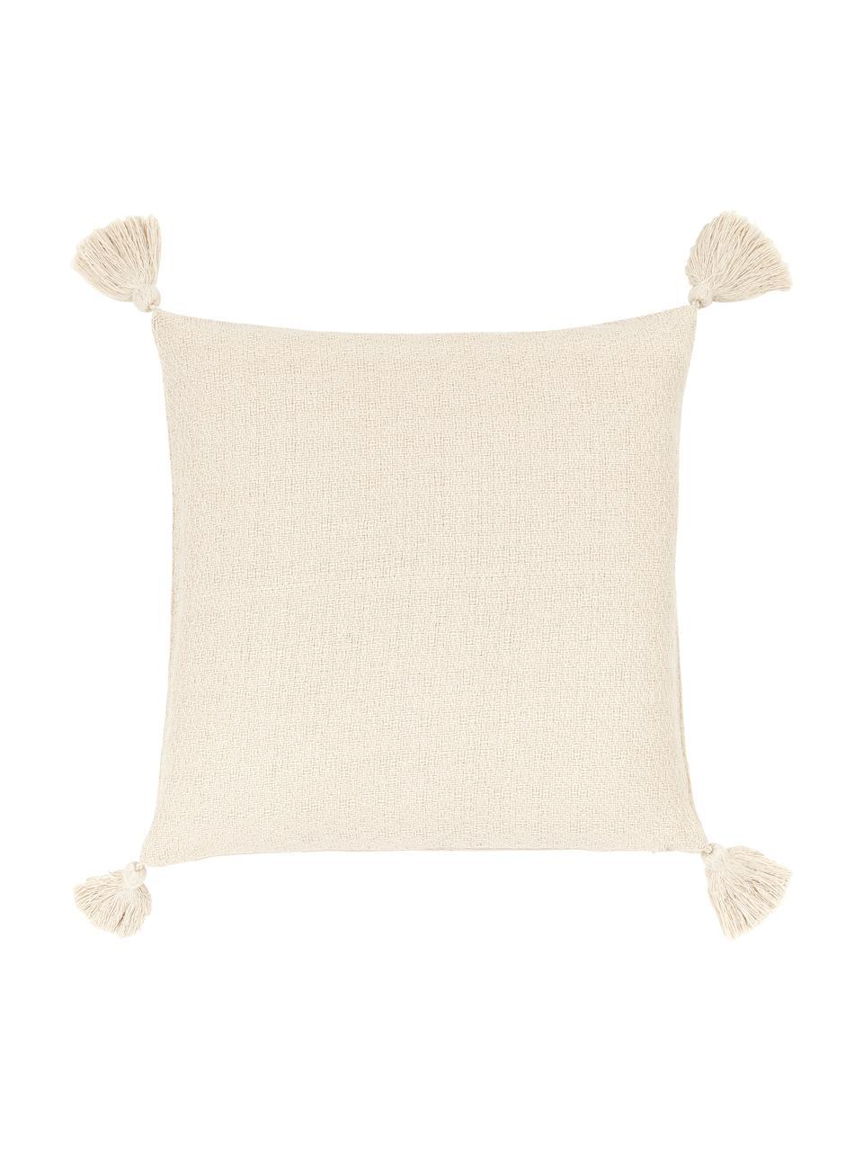 Kissenhülle Lori in Beige mit dekorativen Quasten, 100% Baumwolle, Beige, 40 x 40 cm