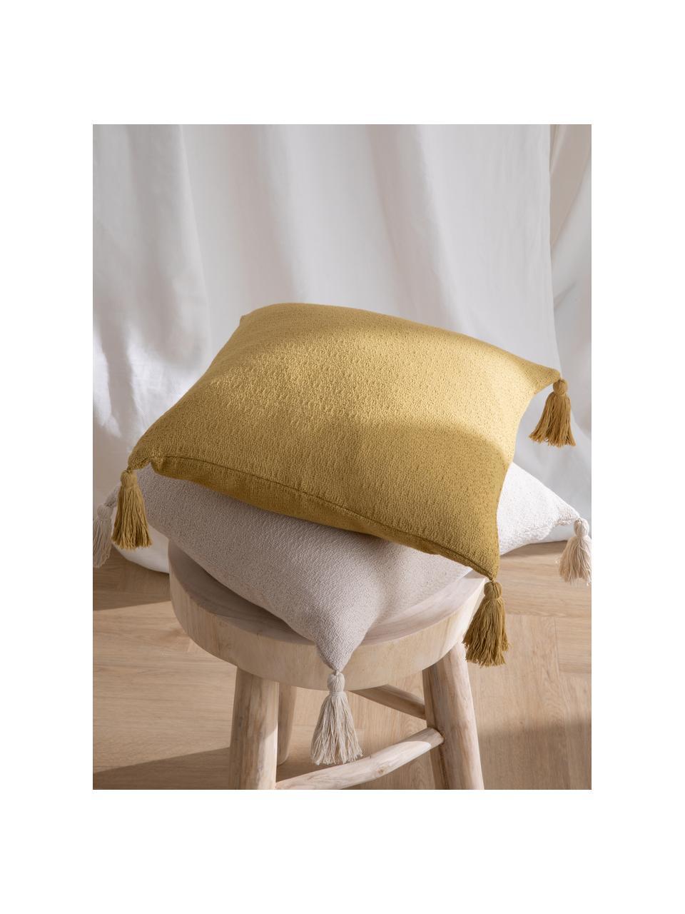 Poszewka na poduszkę z chwostami Lori, 100% bawełna, Beżowy, S 40 x D 40 cm
