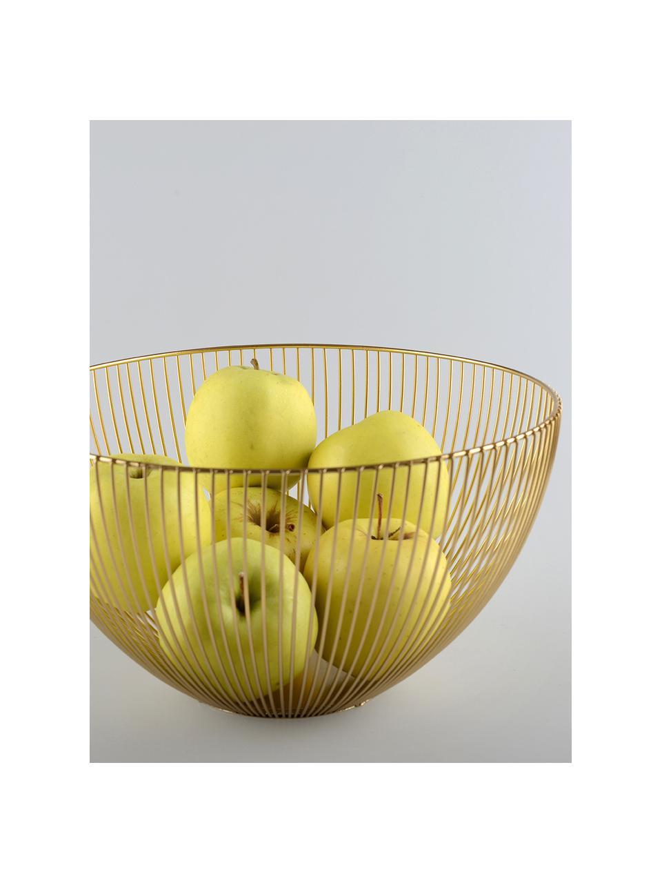 Goldfarbener Aufbewahrungskorb Conic, Metall, beschichtet, Messingfarben, Ø 25 x H 14 cm