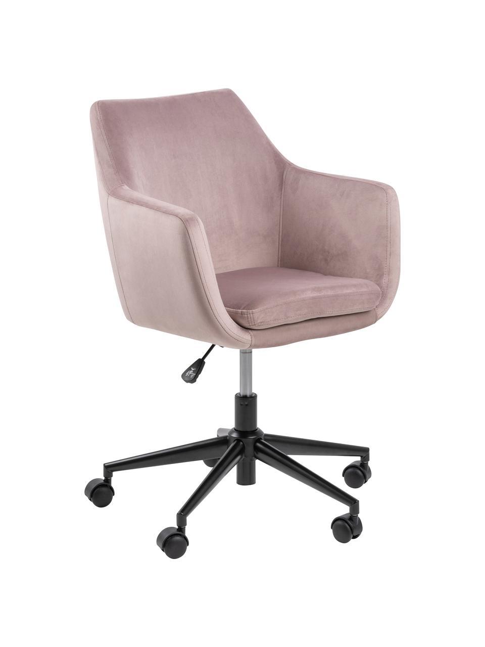 Krzesło biurowe z aksamitu Nora, obrotowe, Tapicerka: poliester (aksamit) 2500, Stelaż: metal malowany proszkowo, Blady różowy, czarny, S 58 x G 58 cm