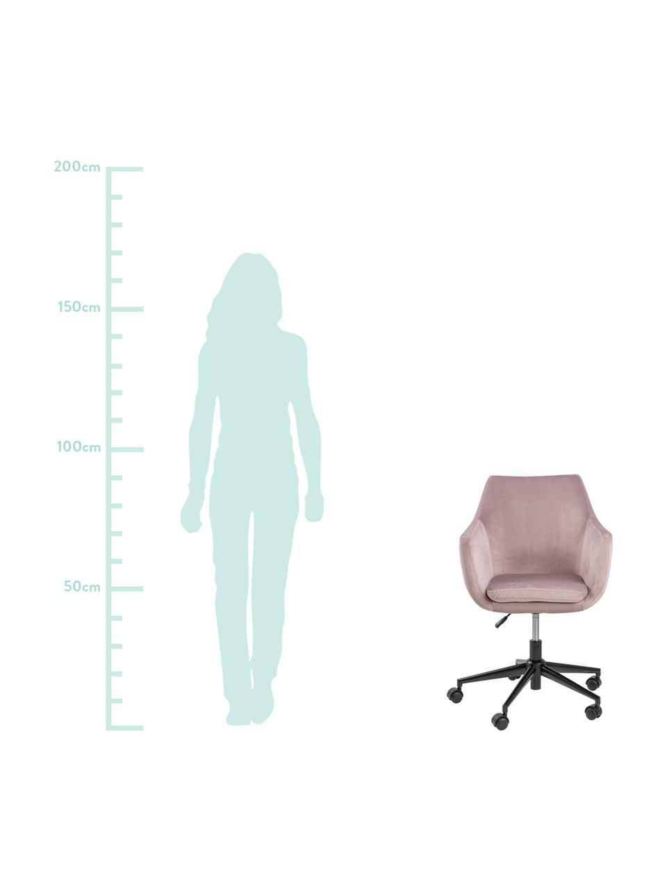 Sedia da ufficio girevole in velluto Nora, Rivestimento: poliestere (velluto) 25.0, Struttura: metallo verniciato a polv, Rosa, nero, Larg. 58 x Prof. 58 cm