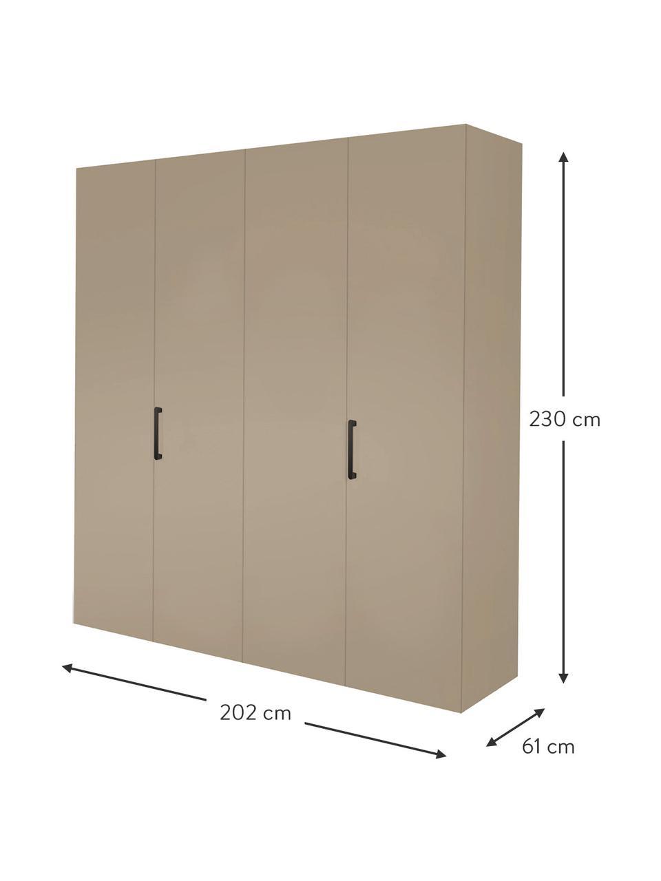 Kleiderschrank Madison 4-türig, inkl. Montageservice, Korpus: Holzwerkstoffplatten, lac, Sandfarben, Ohne Spiegeltür, 202 x 230 cm