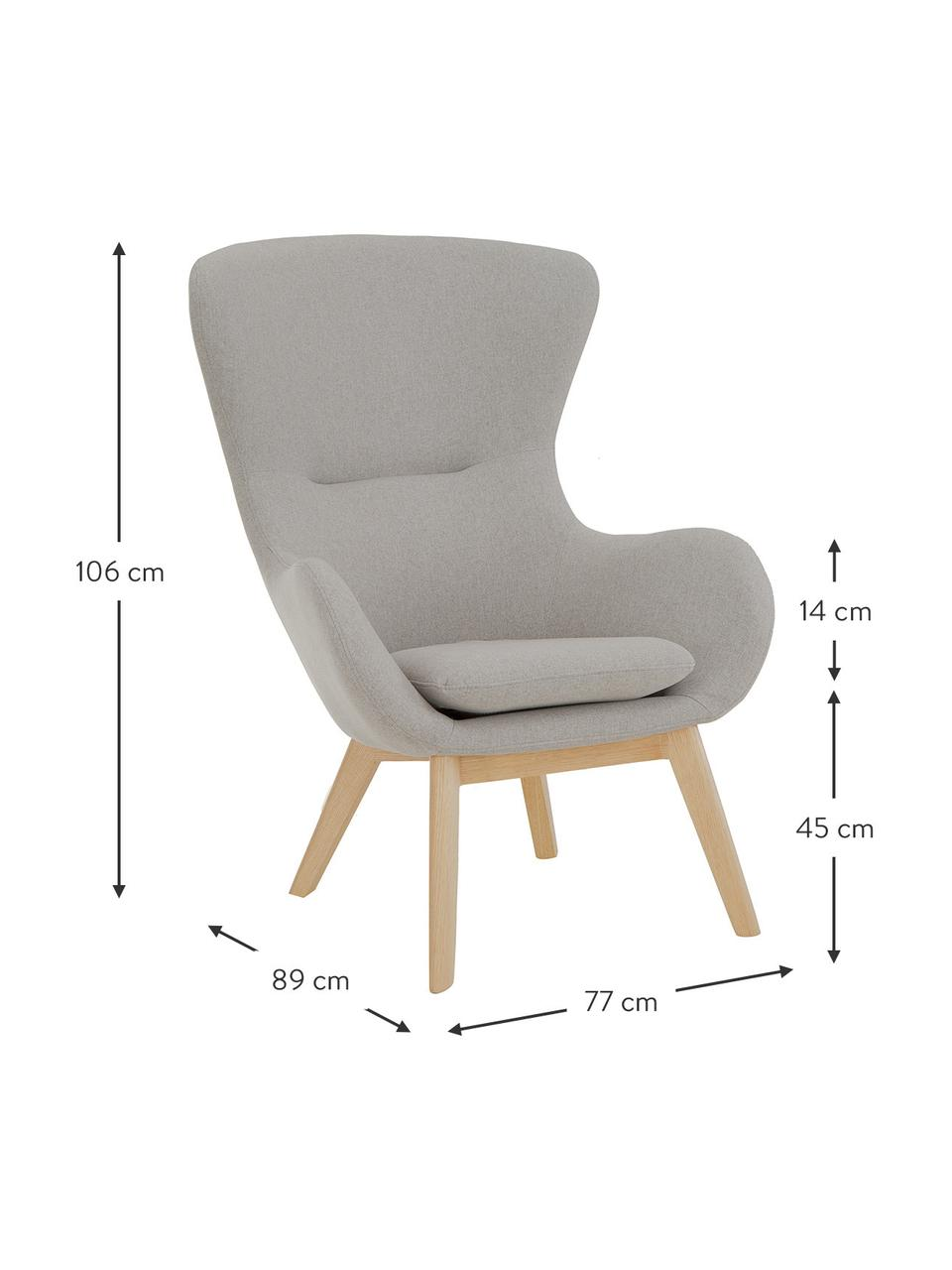Ohrensessel Wing in Grau mit Holz-Füßen, Bezug: Polyester Der hochwertige, Füße: Massivholz mit Eschenfurn, Webstoff Grau, B 77 x T 89 cm
