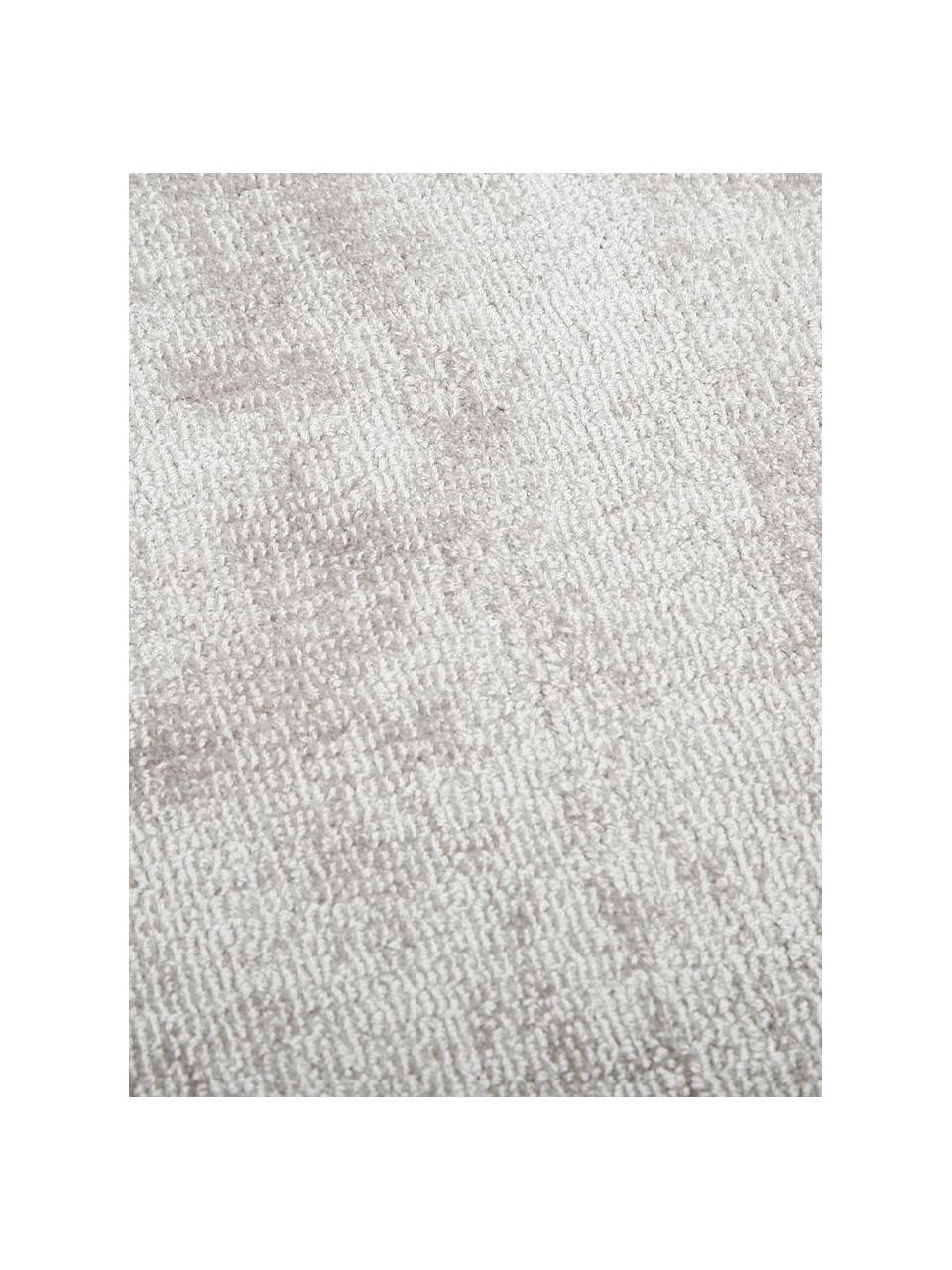 Passatoia in viscosa color grigio chiaro-beige tessuta a mano Jane, Retro: 100% cotone, Grigio chiaro-beige, Larg. 80 x Lung. 250 cm