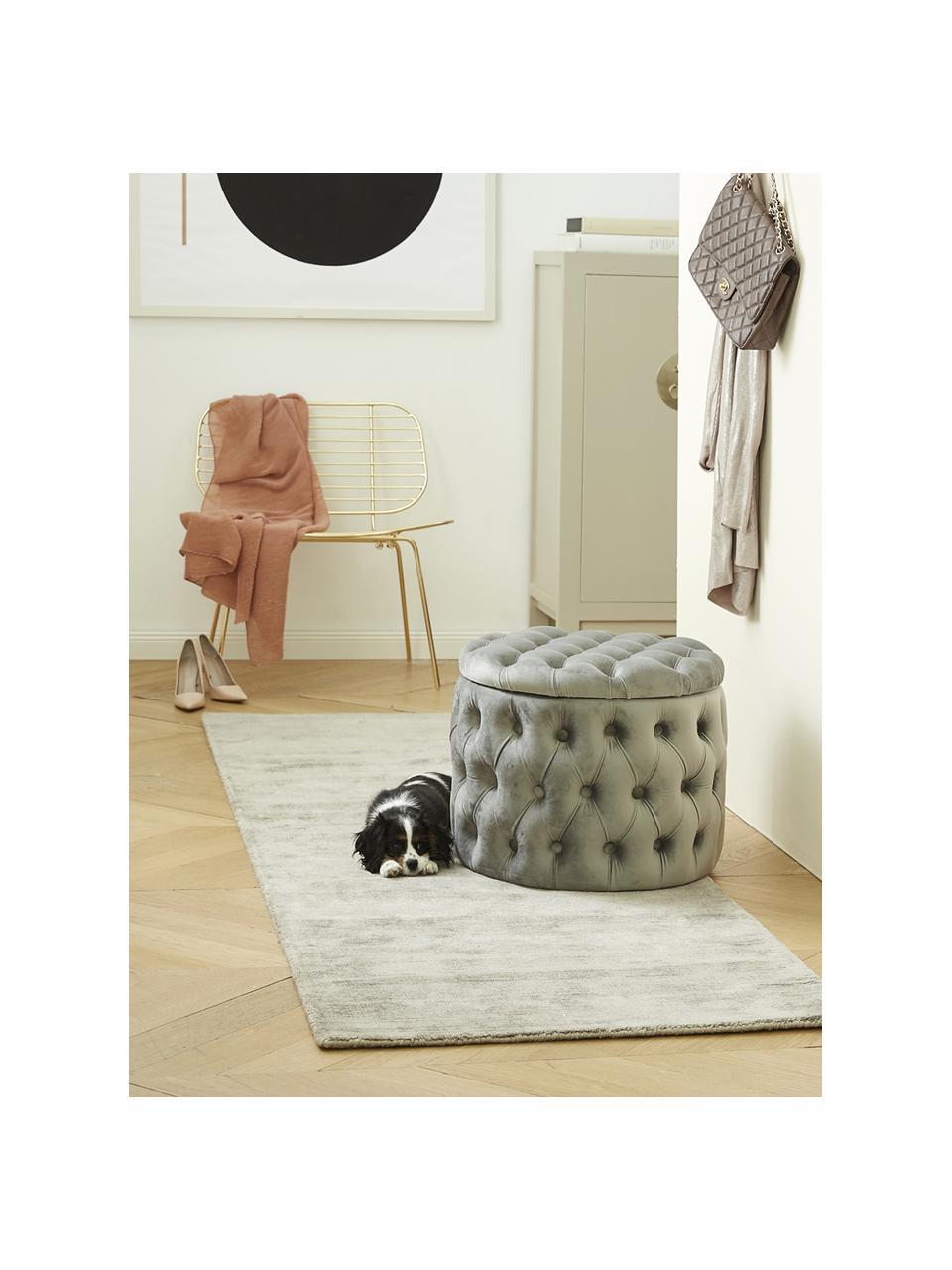 Ręcznie tkany chodnik z wiskozy Jane, Jasny szarobeżowy, S 80 x D 250 cm