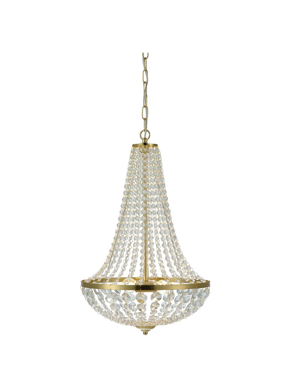 Lampadario dorato Gränsö, Struttura: metallo ottonato, Baldacchino: metallo ottonato, Ottone, trasparente, Ø 40 x Alt. 59 cm