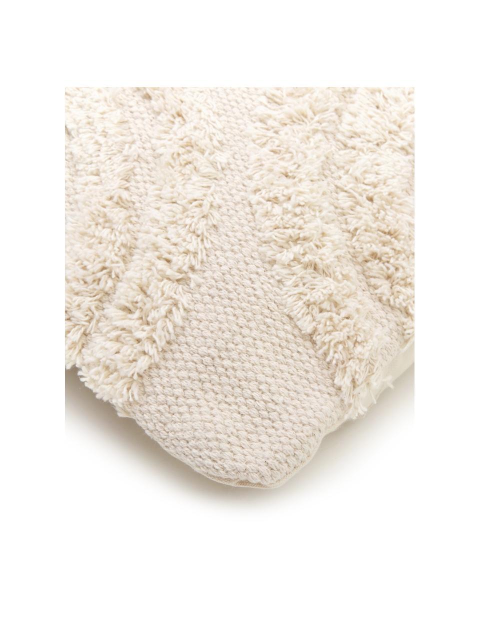 Federa arredo Yara, 100% cotone, Ecru, Larg. 45 x Lung. 45 cm