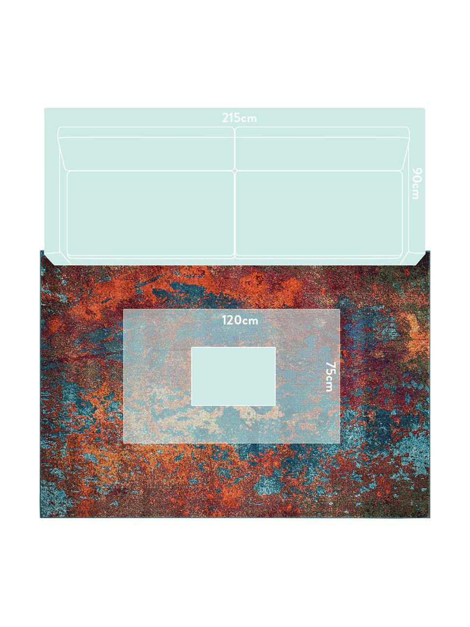 Designteppich Celestial in Bunt, Flor: 100% Polypropylen, Rottöne, Blautöne, Grün, B 160 x L 220 cm (Größe M)