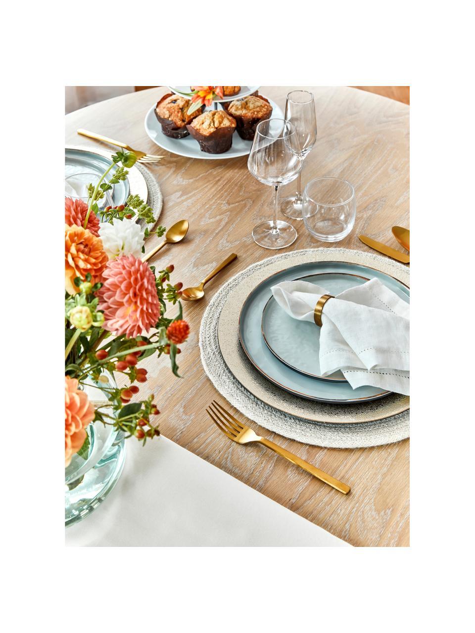 Speiseteller Saisons aus Steingut in Blau, 6 Stück, Steingut, Blau, Ø 27 cm