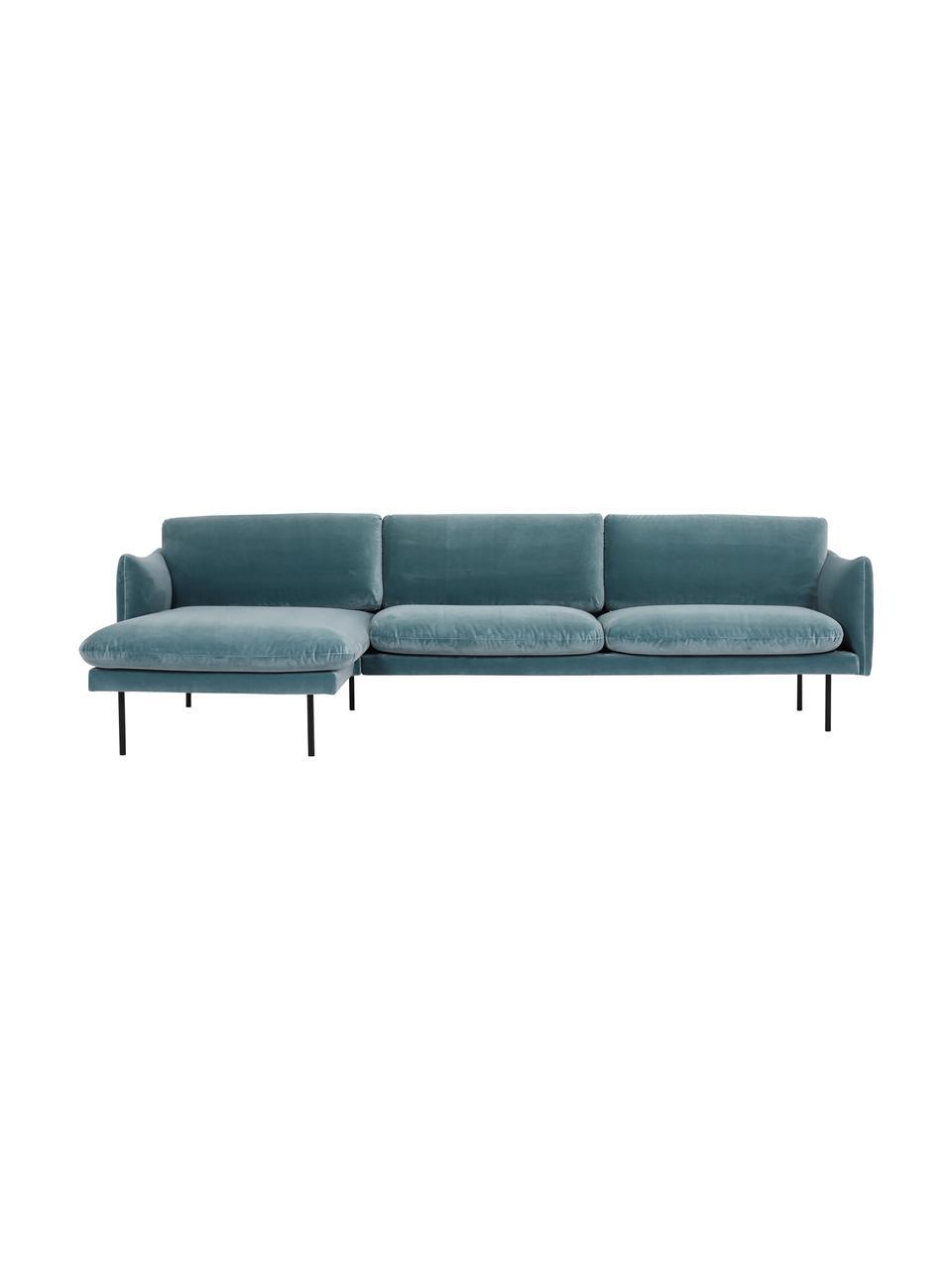 Sofa narożna z aksamitu z metalowymi nogami Moby, Tapicerka: aksamit (wysokiej jakości, Stelaż: lite drewno sosnowe, Nogi: metal malowany proszkowo, Aksamitny turkusowy, S 280 x G 160 cm