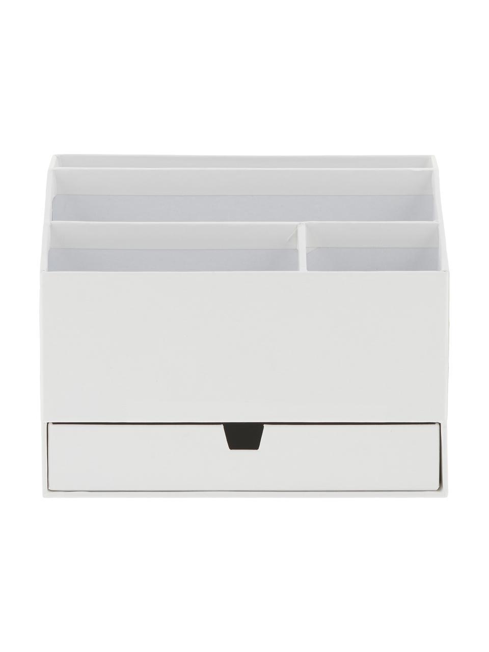 Organizer da ufficio Greta, Cartone solido e laminato, Bianco, Larg. 24 x Alt. 18 cm