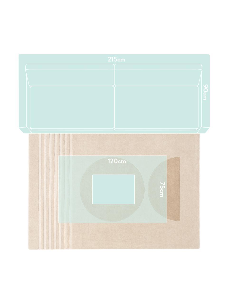 Handgetuft wollen vloerkleed Bent met geometrisch patroon, Bovenzijde: 100% wol, Onderzijde: 100% katoen Bij wollen vl, Beige, crèmekleurig, B 200 x L 300 cm (maat L)