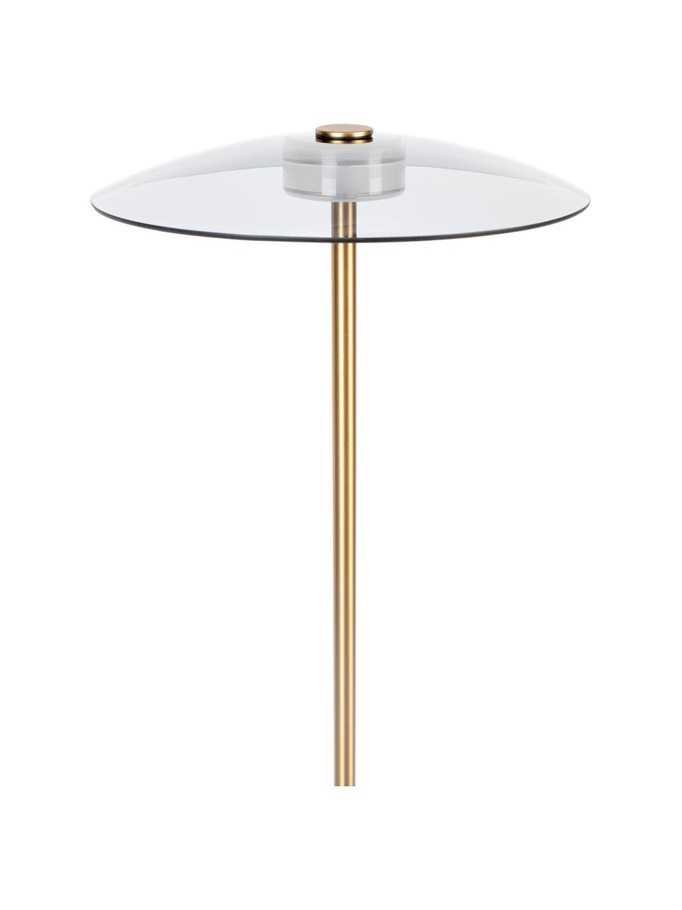 Kleine dimbare LED leeslamp Float van glas, Lampenkap: glas, Lampvoet: glas, Goudkleurig, transparant, Ø 30 x H 132 cm