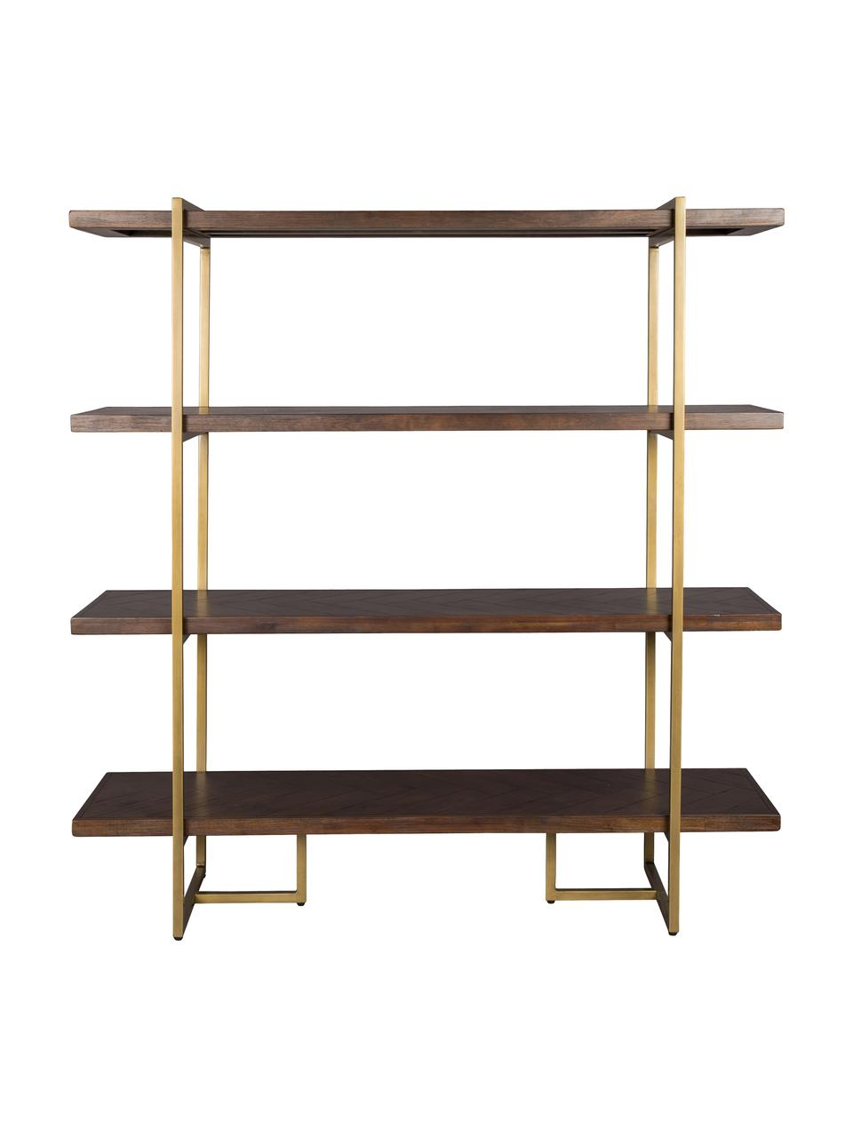 Estantería en madera de acacia Class, Estructura: metal con pintura en polv, Estantes: tablero de fibras de dens, Acacia, latón, An 140 x Al 146 cm
