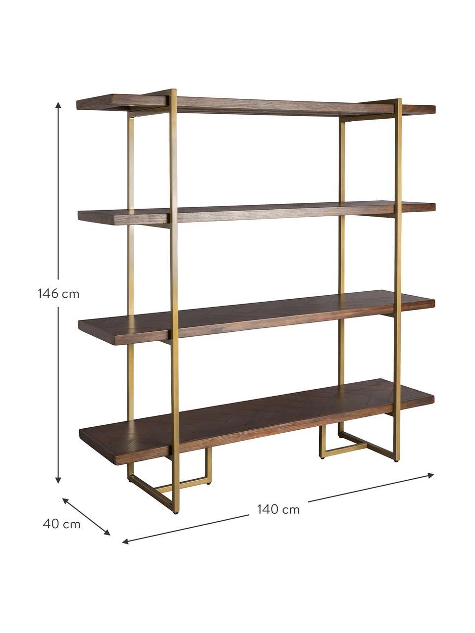 Regał w jodełkę Class, Stelaż: rura stalowa, lakierowana, Półki: drewno akacjowe Stelaż: mosiądz postarzany, S 140 x W 146 cm