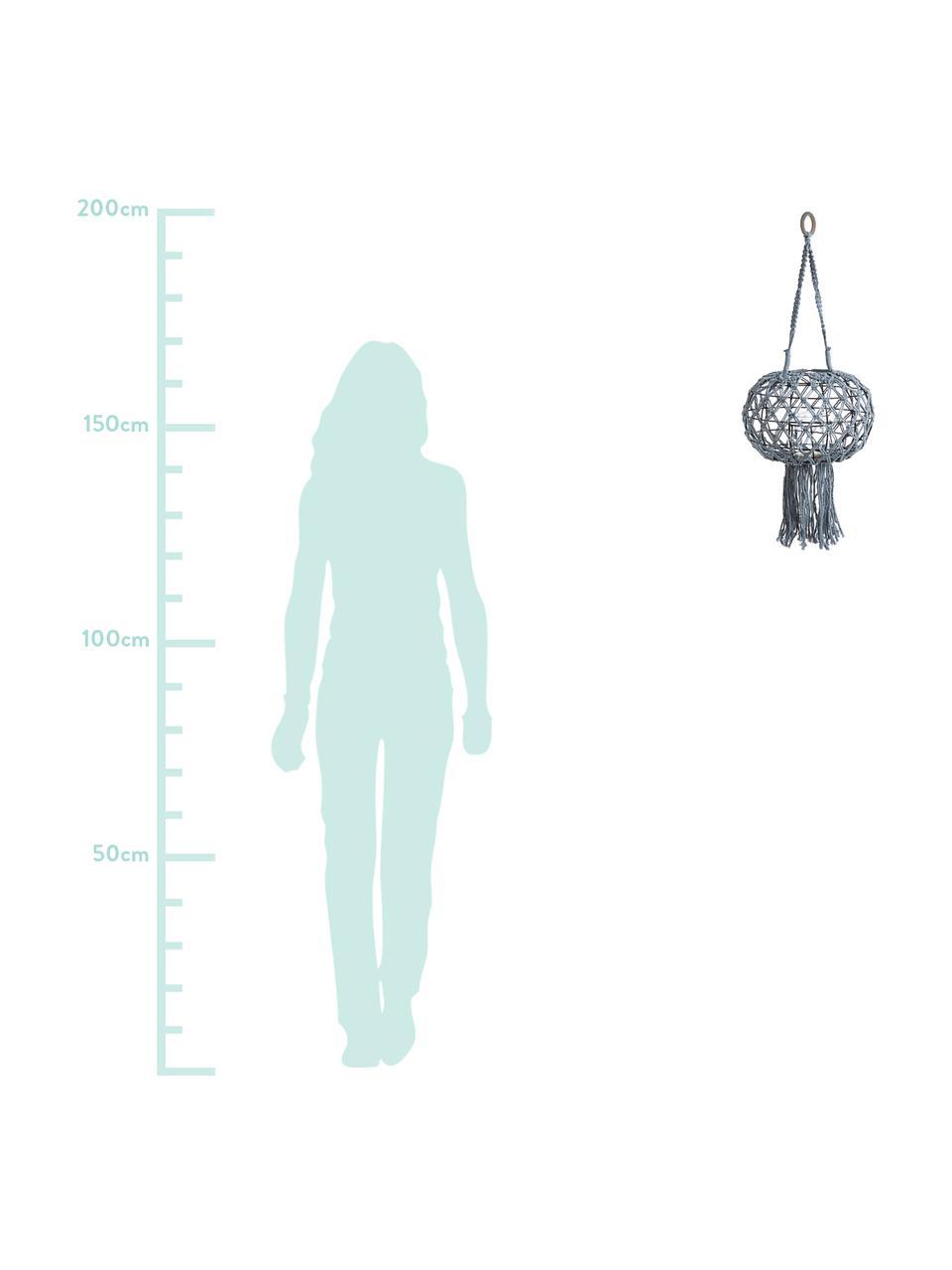 Hängende Laterne Macrame, Gestell: Metall, Grau, Ø 31 x H 70 cm