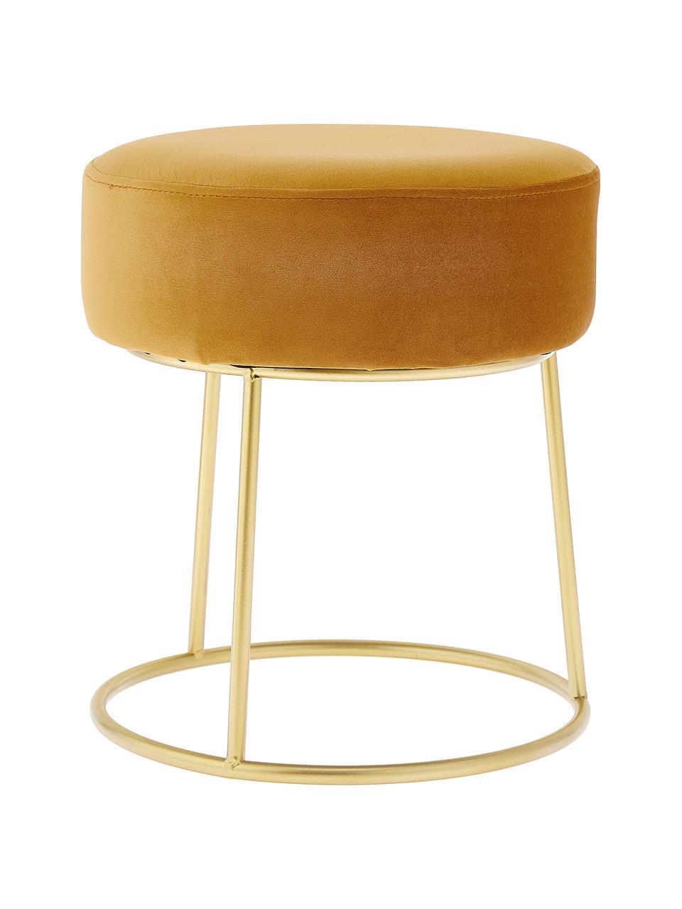Sgabello rotondo in velluto Clarissa, Rivestimento: 100% velluto di poliester, Rivestimento: giallo Base: dorato, Ø 35 x Alt. 40 cm