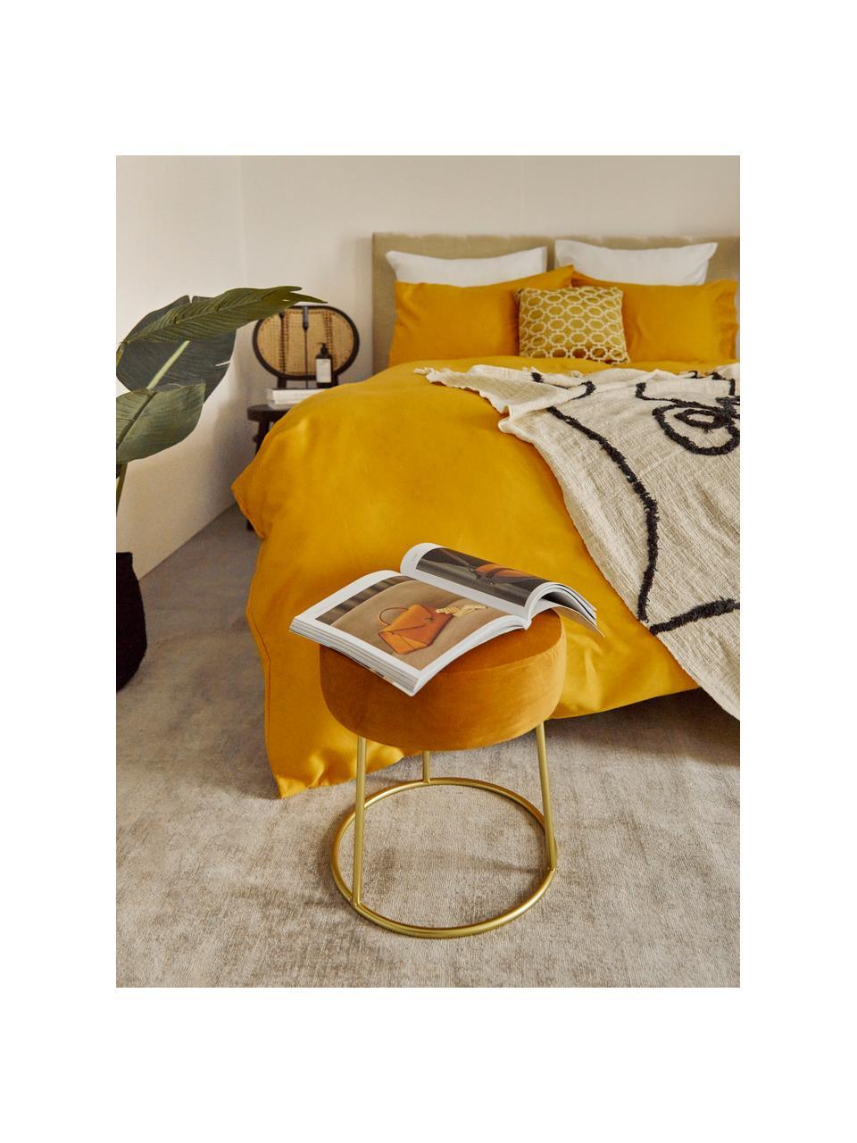 Runder Samt-Hocker Clarissa, Bezug: 100% Polyestersamt, Korpus: Mitteldichte Holzfaserpla, Bezug: GelbFuß: Goldfarben, Ø 35 x H 40 cm