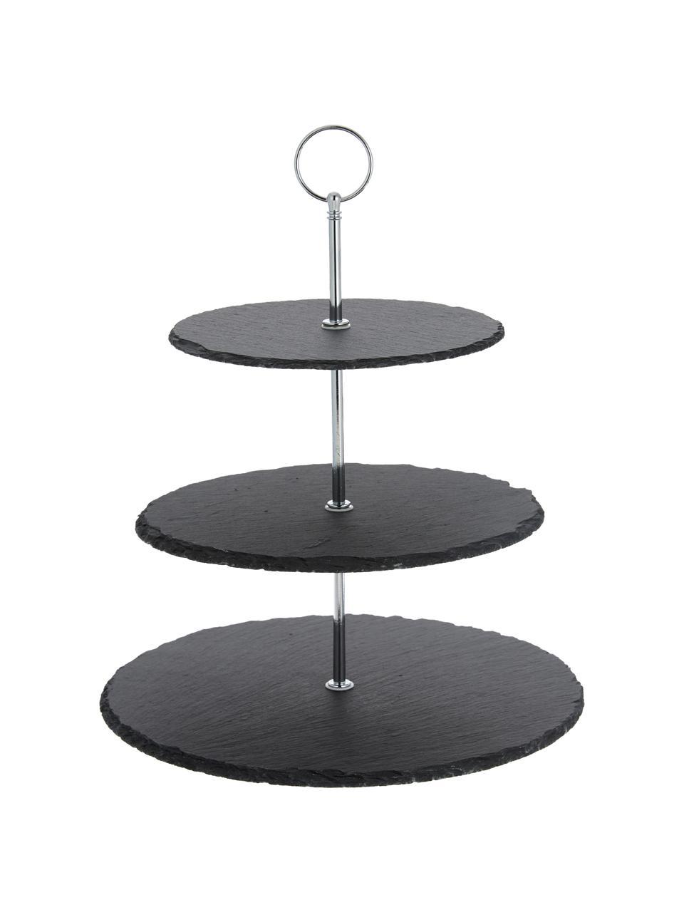 Etagere Cooper mit Schiefernplatten, Ø 30 cm, Stange: Metall, verchromt, Schwarz, Chrom, Ø 30 x H 31 cm