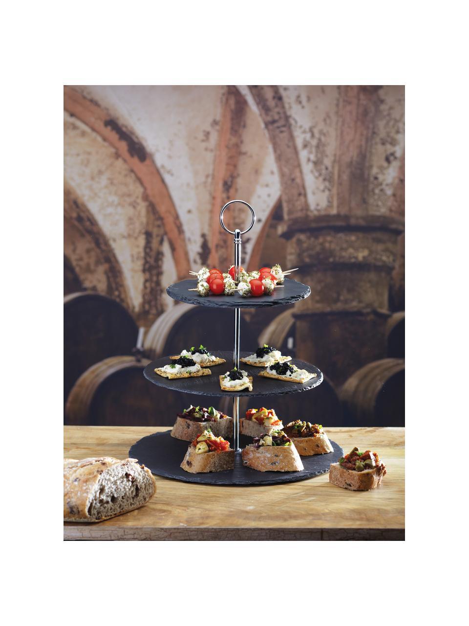 Présentoir à gâteaux ardoise Cooper, Ø30cm, Noir, chrome