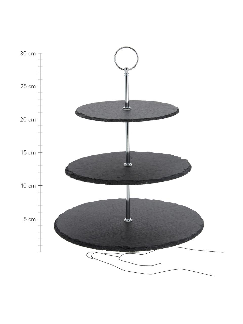 Etagère Cooper met leistenen plateaus, Ø 30 cm, Plateaus: leisteen, Frame: verchroomd metaal, Zwart, chroomkleurig, Ø 30 x H 31 cm