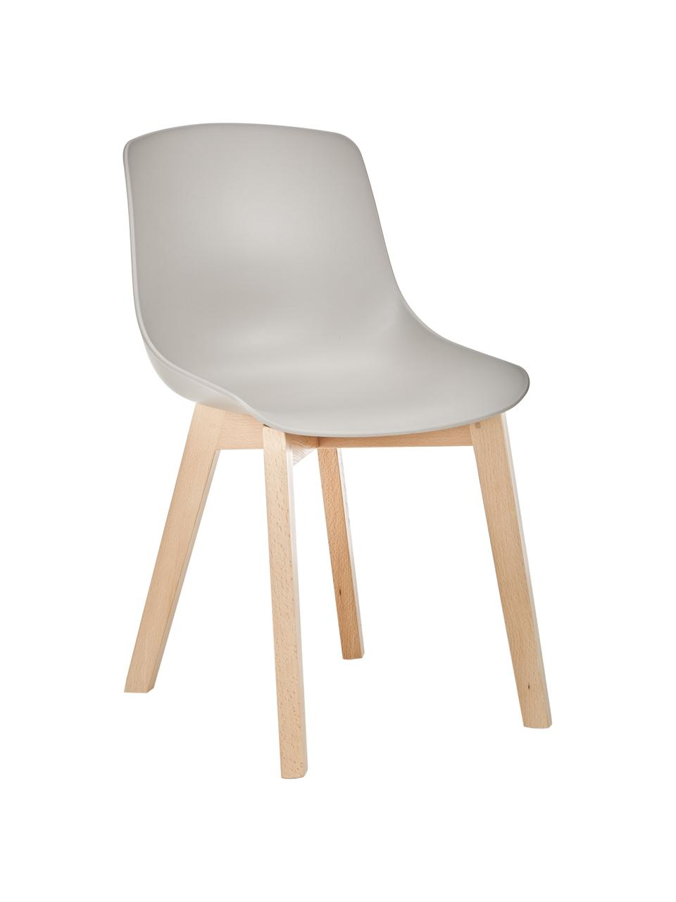 Kunststoffstühle Dave mit Holzbeinen, 2 Stück, Sitzschale: Kunststoff, Beine: Buchenholz, Beigegrau, B 46 x T 52 cm