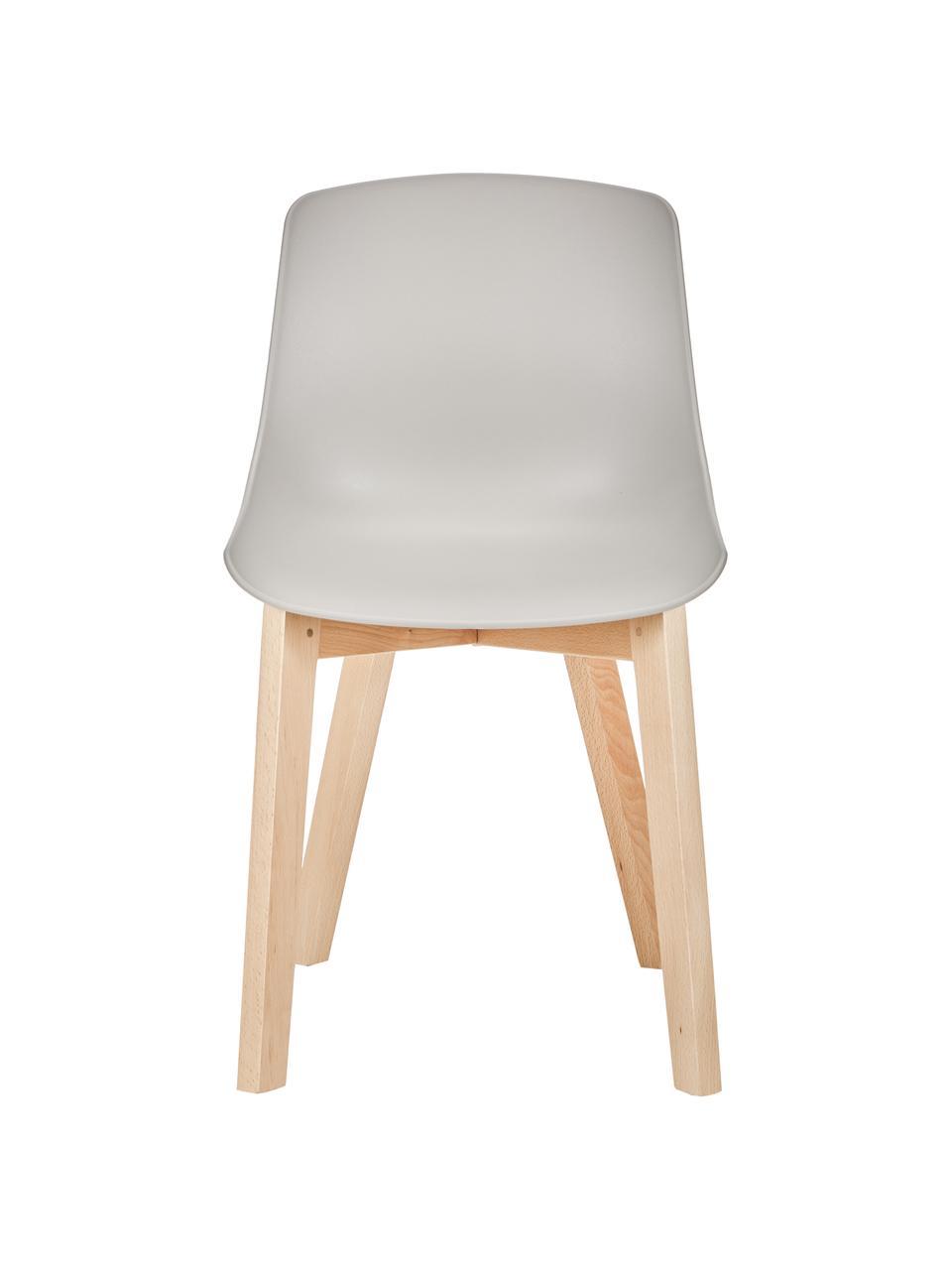 Krzesło z tworzywa sztucznego z drewnianymi nogami Dave, 2 szt., Nogi: drewno bukowe, Beżowoszary, S 46 x W 82 cm