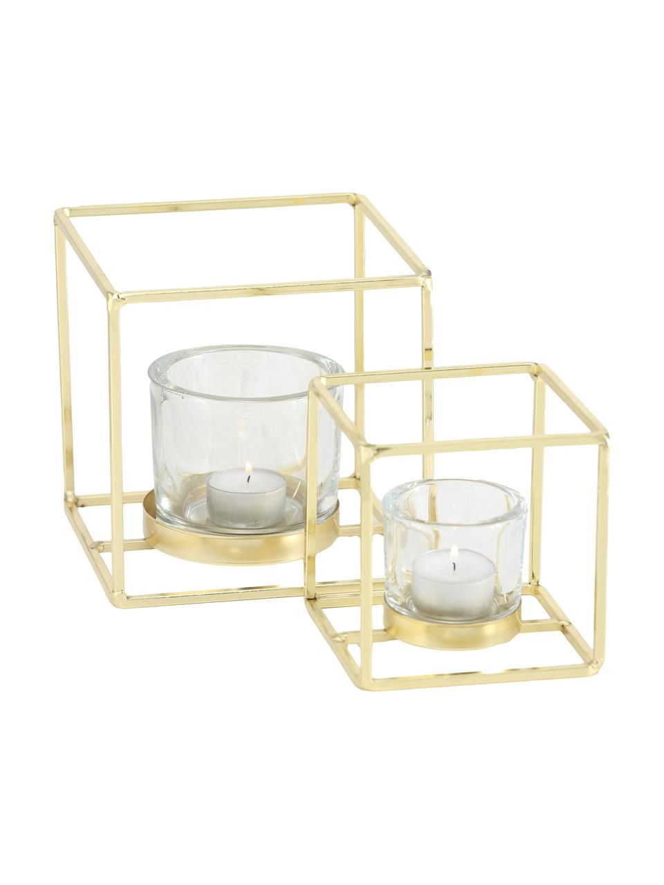Set 2 portalumini Pazo, Portacandela: vetro, Struttura: metallo, rivestito, Trasparente, ottonato, Set in varie misure