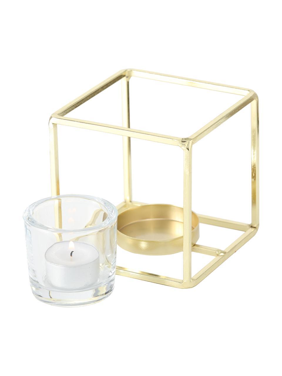Komplet świeczników na podgrzewacze Pazo, 2elem., Stelaż: metal powlekany, Transparentny, odcienie mosiądzu, Komplet z różnymi rozmiarami