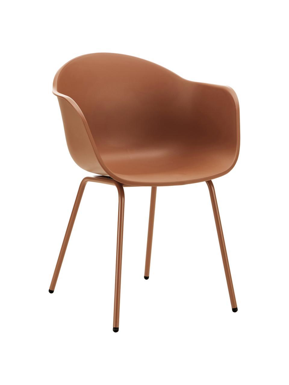 Gartenstuhl Claire in Braun, Sitzschale: 65% Kunststoff, 35% Fiber, Beine: Metall, pulverbeschichtet, Braun, B 60 x T 54 cm